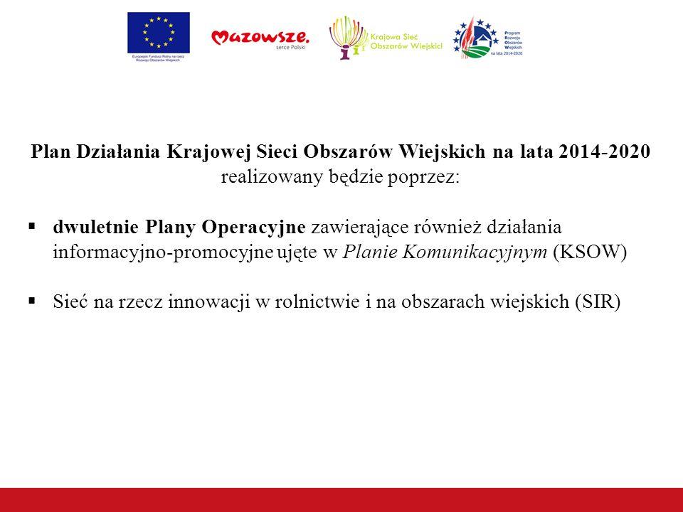 Plan Działania Krajowej Sieci Obszarów Wiejskich na lata 2014-2020 realizowany będzie poprzez:  dwuletnie Plany Operacyjne zawierające również działania informacyjno-promocyjne ujęte w Planie Komunikacyjnym (KSOW)  Sieć na rzecz innowacji w rolnictwie i na obszarach wiejskich (SIR)