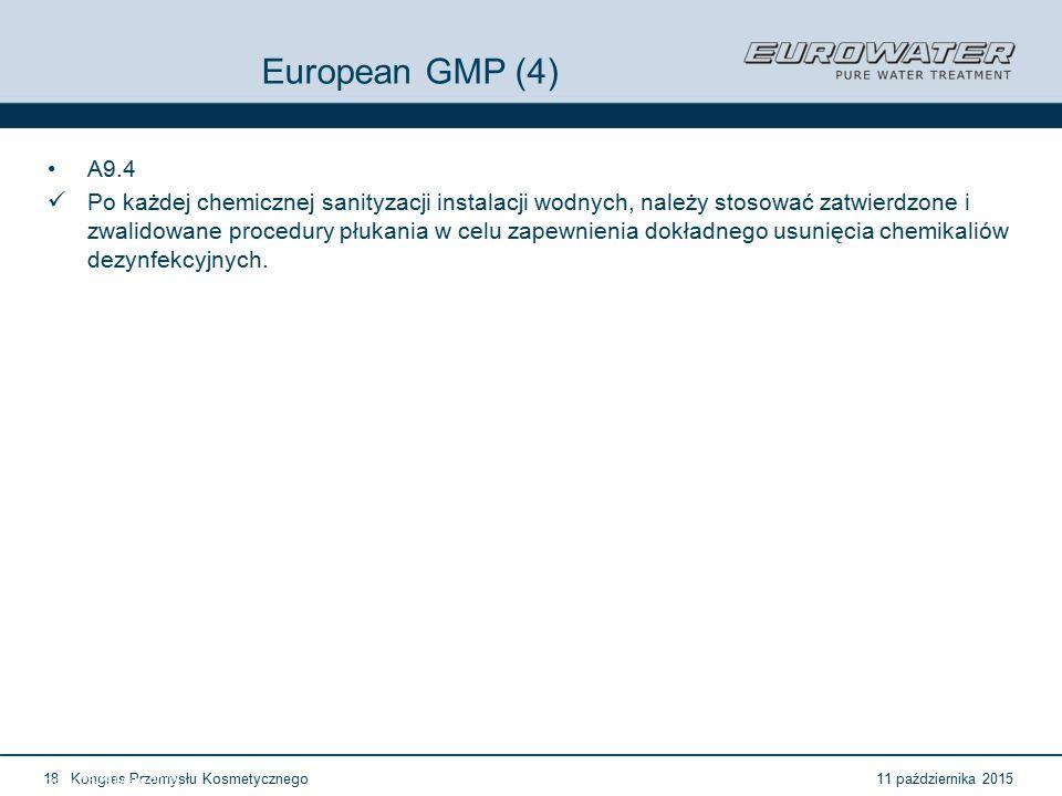 11 października 2015Kongres Przemysłu Kosmetycznego18 Forum Walidacji ISPE Wrocław, 28-29 lutego 2012 European GMP (4) A9.4 Po każdej chemicznej sanityzacji instalacji wodnych, należy stosować zatwierdzone i zwalidowane procedury płukania w celu zapewnienia dokładnego usunięcia chemikaliów dezynfekcyjnych.