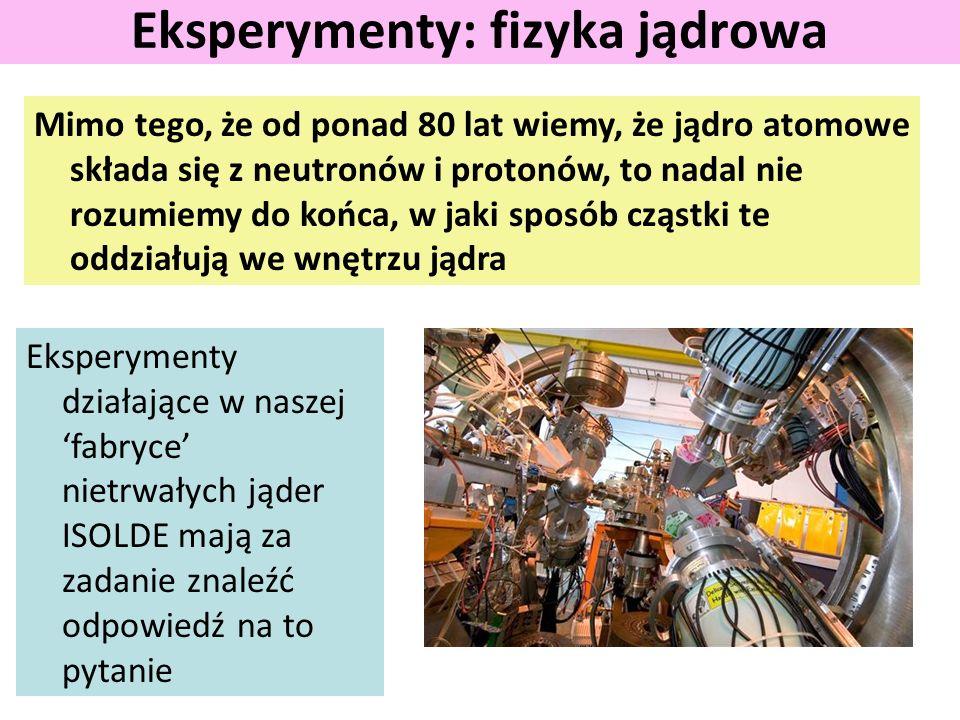 Mimo tego, że od ponad 80 lat wiemy, że jądro atomowe składa się z neutronów i protonów, to nadal nie rozumiemy do końca, w jaki sposób cząstki te oddziałują we wnętrzu jądra Eksperymenty: fizyka jądrowa Eksperymenty działające w naszej 'fabryce' nietrwałych jąder ISOLDE mają za zadanie znaleźć odpowiedź na to pytanie