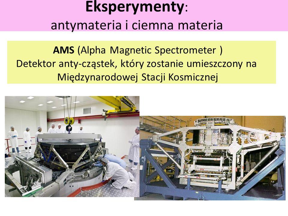 Eksperymenty : antymateria i ciemna materia AMS (Alpha Magnetic Spectrometer ) Detektor anty-cząstek, który zostanie umieszczony na Międzynarodowej Stacji Kosmicznej