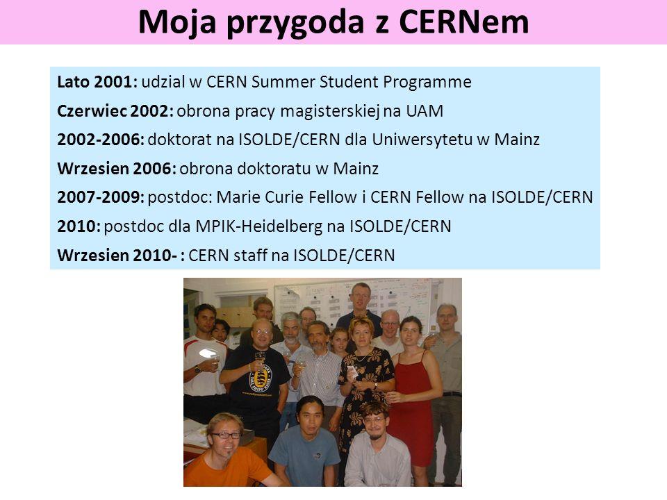 Moja przygoda z CERNem Lato 2001: udzial w CERN Summer Student Programme Czerwiec 2002: obrona pracy magisterskiej na UAM 2002-2006: doktorat na ISOLD