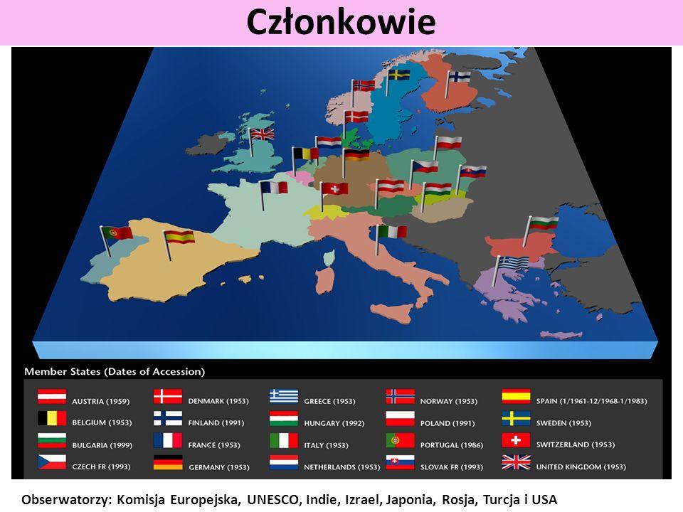 Członkowie Obserwatorzy: Komisja Europejska, UNESCO, Indie, Izrael, Japonia, Rosja, Turcja i USA
