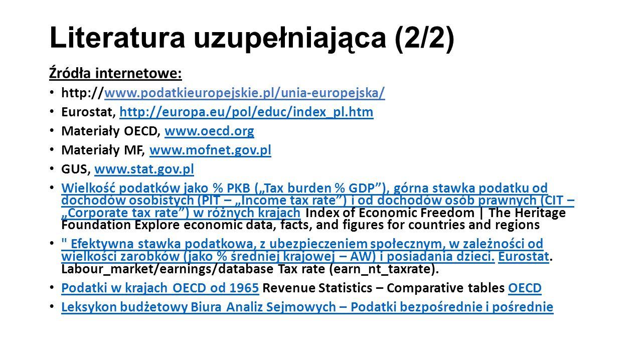 Literatura uzupełniająca (2/2) Źródła internetowe: http://www.podatkieuropejskie.pl/unia-europejska/ Eurostat, http://europa.eu/pol/educ/index_pl.htmh