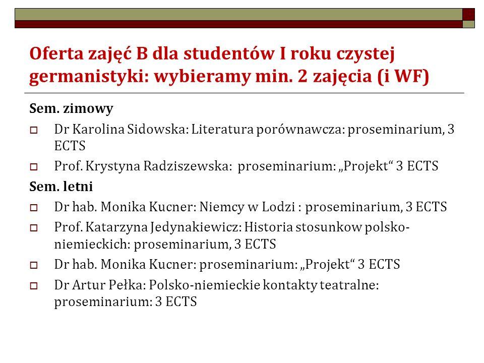 Oferta zajęć B dla studentów I roku czystej germanistyki: wybieramy min. 2 zajęcia (i WF) Sem. zimowy  Dr Karolina Sidowska: Literatura porównawcza: