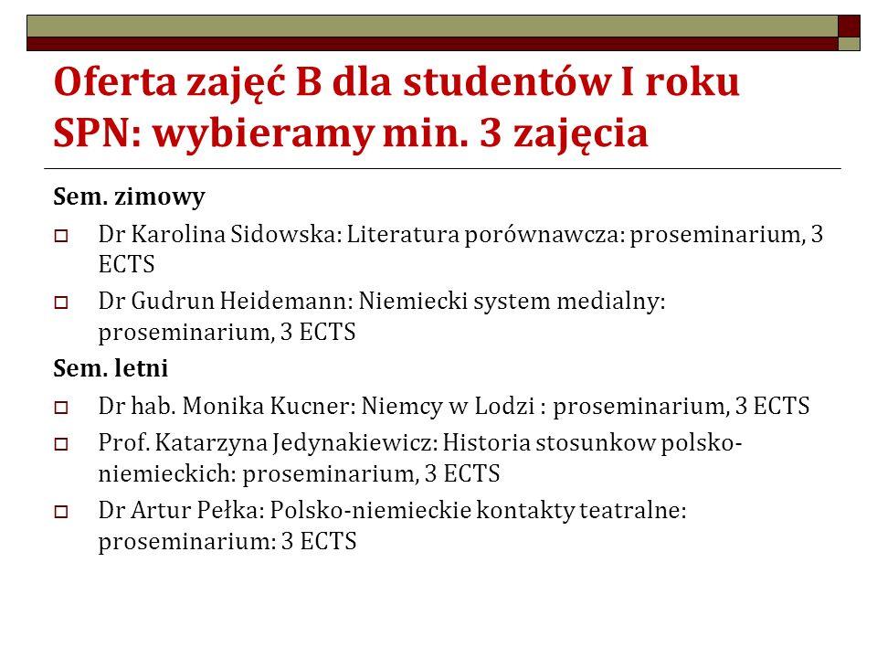 Oferta zajęć B dla studentów I roku SPN: wybieramy min. 3 zajęcia Sem. zimowy  Dr Karolina Sidowska: Literatura porównawcza: proseminarium, 3 ECTS 