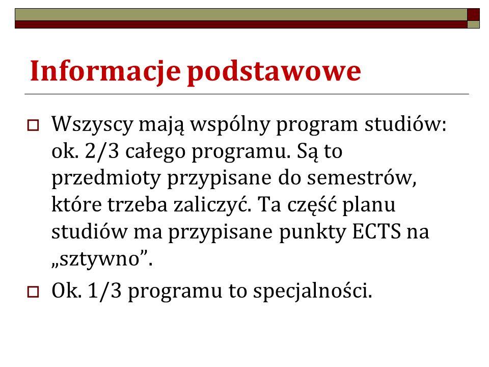 Informacje podstawowe  Wszyscy mają wspólny program studiów: ok. 2/3 całego programu. Są to przedmioty przypisane do semestrów, które trzeba zaliczyć