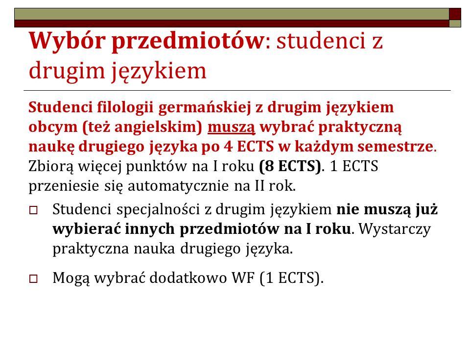 """Wybór przedmiotów: studenci """"czystej germanistyki 7 ECT to: WF: 1 ECTS + 2 x zajęcia do wyboru po 3 ECTS Propozycje: Semestr zimowy: WF + 1 przedmiot B (3 ECTS) Semestr letni: 1 przedmiot B (3 ECTS) lub Semestr zimowy: WF + 1 przedmiot C (3 ECTS) Semestr letni: 1 przedmiot B (3 ECTS) lub Semestr zimowy: WF Semestr letni: 2 przedmioty B (3 ECTS) lub Semestr zimowy: WF Semestr letni: 1 przedmiot B (3 ECTS) + 1 przedmiot C (3 ECTS)"""