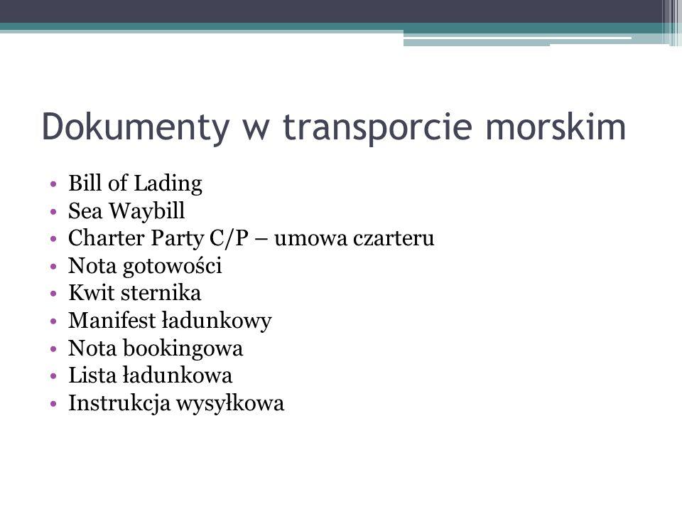 Dokumenty w transporcie morskim Bill of Lading Sea Waybill Charter Party C/P – umowa czarteru Nota gotowości Kwit sternika Manifest ładunkowy Nota boo
