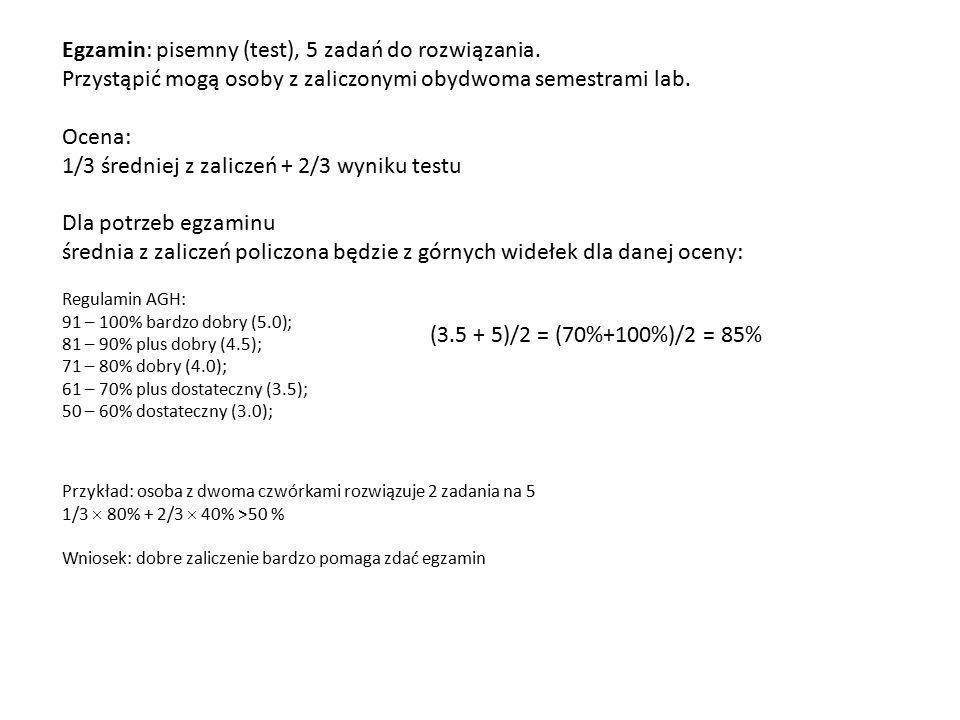 Zwolnienie z egzaminu: Student, którego średnia z zaliczeń laboratoryjnych będzie odpowiadała 4.5 (>80%) - może zostać zwolniony z egzaminu [średnia z zaliczeń zostaje wpisana wtedy jako wynik egzaminu]: Pary ocen uprawniających do zwolnienia z egzaminu: 4+ 4.5 4 + 5 → 4.5 3.5 + 5 4.5 + 5 → 5 5 + 5