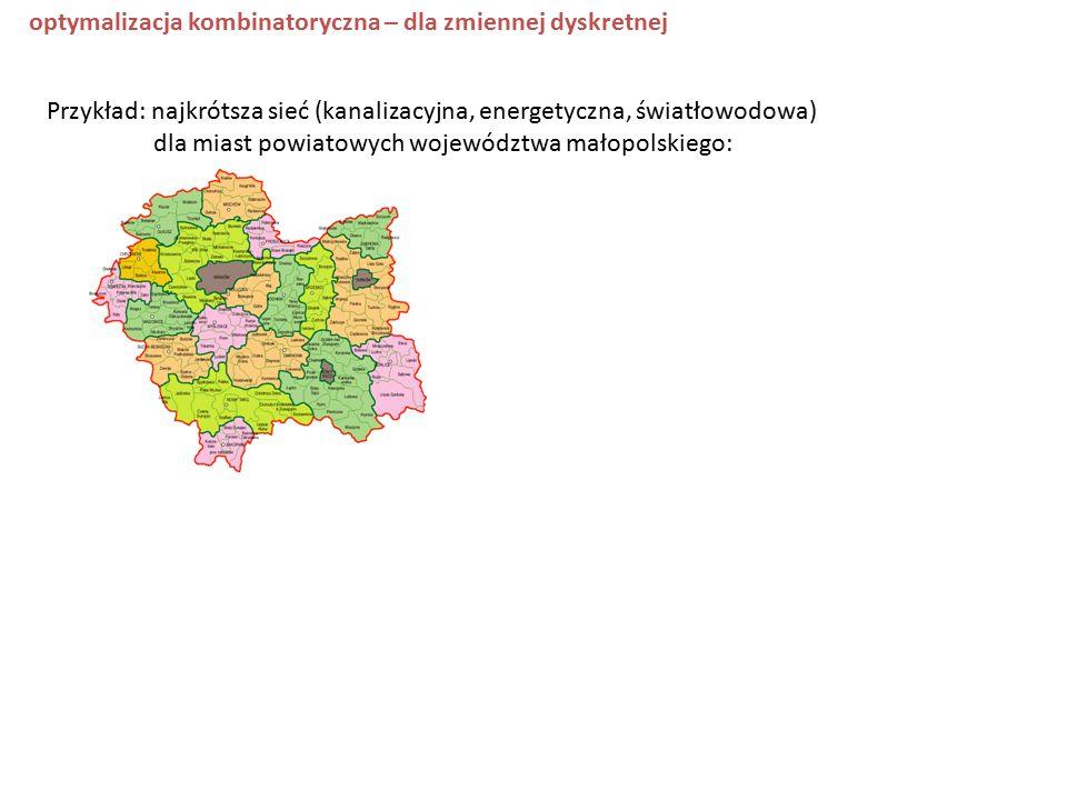 optymalizacja kombinatoryczna – dla zmiennej dyskretnej Przykład: najkrótsza sieć (kanalizacyjna, energetyczna, światłowodowa) dla miast powiatowych województwa małopolskiego:
