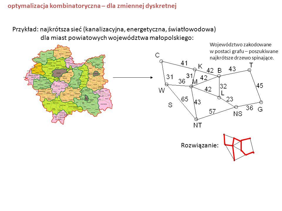 Rozwiązanie: Przykład: najkrótsza sieć (kanalizacyjna, energetyczna, światłowodowa) dla miast powiatowych województwa małopolskiego: 31 Województwo zakodowane w postaci grafu – poszukiwane najkrótsze drzewo spinające.