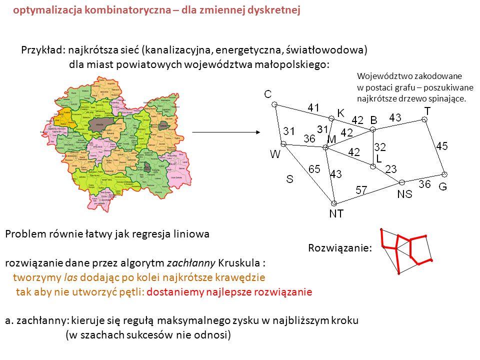 Przykład: najkrótsza sieć (kanalizacyjna, energetyczna, światłowodowa) dla miast powiatowych województwa małopolskiego: 31 Województwo zakodowane w postaci grafu – poszukiwane najkrótsze drzewo spinające.