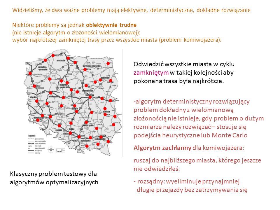 Widzieliśmy, że dwa ważne problemy mają efektywne, deterministyczne, dokładne rozwiązanie Niektóre problemy są jednak obiektywnie trudne (nie istnieje algorytm o złożoności wielomianowej): wybór najkrótszej zamkniętej trasy przez wszystkie miasta (problem komiwojażera): -algorytm deterministyczny rozwiązujący problem dokładny z wielomianową złożonością nie istnieje, gdy problem o dużym rozmiarze należy rozwiązać – stosuje się podejścia heurystyczne lub Monte Carlo Algorytm zachłanny dla komiwojażera: ruszaj do najbliższego miasta, którego jeszcze nie odwiedziłeś.