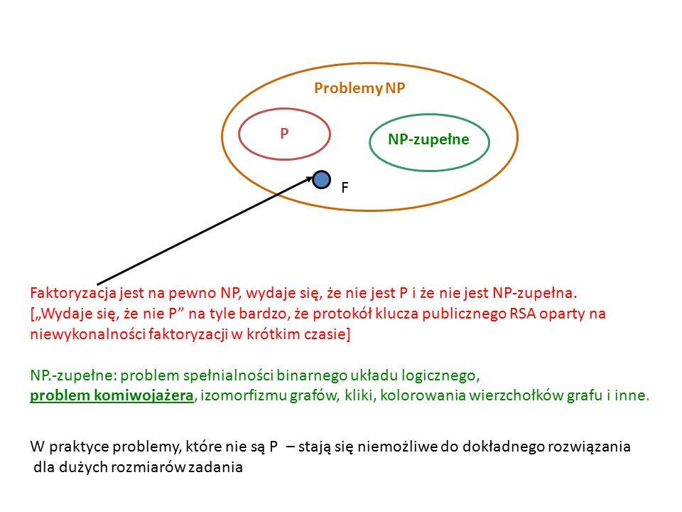 najkrótsza trasa z A do B – problem łatwy (bo wielomianowy algorytm znany) najkrótsza trasa po wszystkich miastach – problem trudny (bo algorytm wielomianowy nieznany) Inna znana para pozornie podobnych problemów o skrajnie różnej złożoności obliczeniowej: problem istnienia cyklu Eulera i cyklu Hamiltona Cykl (zamknięta ścieżka) Eulera Zadanie: zaplanować trasę spaceru: przejść po każdym moście dokładnie raz i wrócić do punktu wyjścia (odwiedź wszystkie krawędzie grafu dokładnie raz)