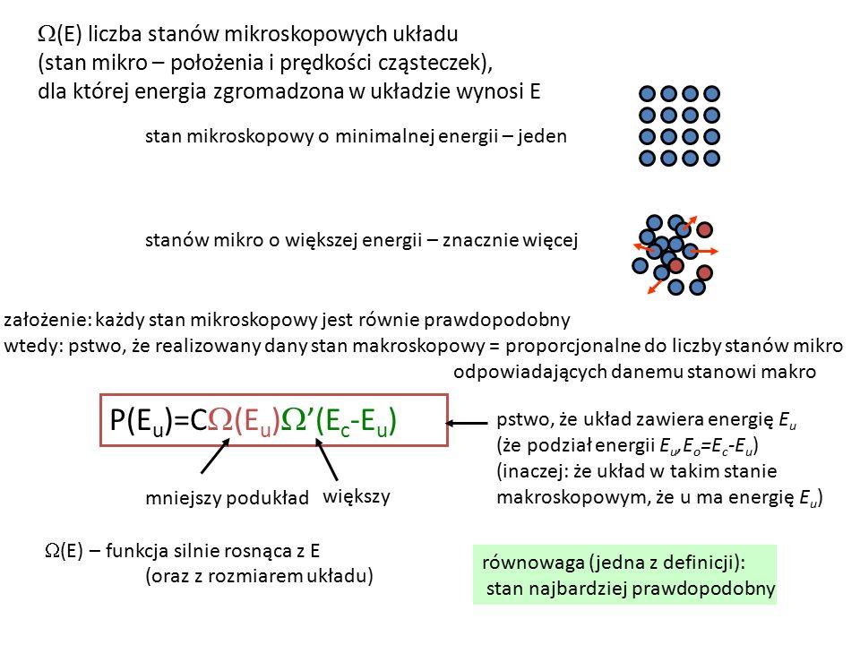 równowaga (jedna z definicji): stan najbardziej prawdopodobny P(E u )=C  (E u )  '(E c -E u ) pstwo, że układ zawiera energię E u (że podział energii E u,E o =E c -E u ) (inaczej: że układ w takim stanie makroskopowym, że u ma energię E u ) stan mikroskopowy o minimalnej energii – jeden stanów mikro o większej energii – znacznie więcej  (E) liczba stanów mikroskopowych układu (stan mikro – położenia i prędkości cząsteczek), dla której energia zgromadzona w układzie wynosi E mniejszy podukład większy założenie: każdy stan mikroskopowy jest równie prawdopodobny wtedy: pstwo, że realizowany dany stan makroskopowy = proporcjonalne do liczby stanów mikro odpowiadających danemu stanowi makro  (E) – funkcja silnie rosnąca z E (oraz z rozmiarem układu)