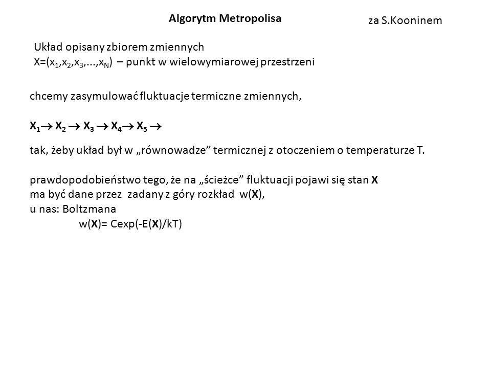 """Układ opisany zbiorem zmiennych X=(x 1,x 2,x 3,...,x N ) – punkt w wielowymiarowej przestrzeni chcemy zasymulować fluktuacje termiczne zmiennych, X 1  X 2  X 3  X 4  X 5  tak, żeby układ był w """"równowadze termicznej z otoczeniem o temperaturze T."""
