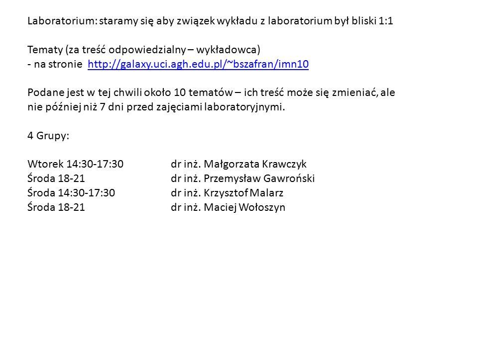 Laboratorium: staramy się aby związek wykładu z laboratorium był bliski 1:1 Tematy (za treść odpowiedzialny – wykładowca) - na stronie http://galaxy.uci.agh.edu.pl/~bszafran/imn10http://galaxy.uci.agh.edu.pl/~bszafran/imn10 Podane jest w tej chwili około 10 tematów – ich treść może się zmieniać, ale nie później niż 7 dni przed zajęciami laboratoryjnymi.