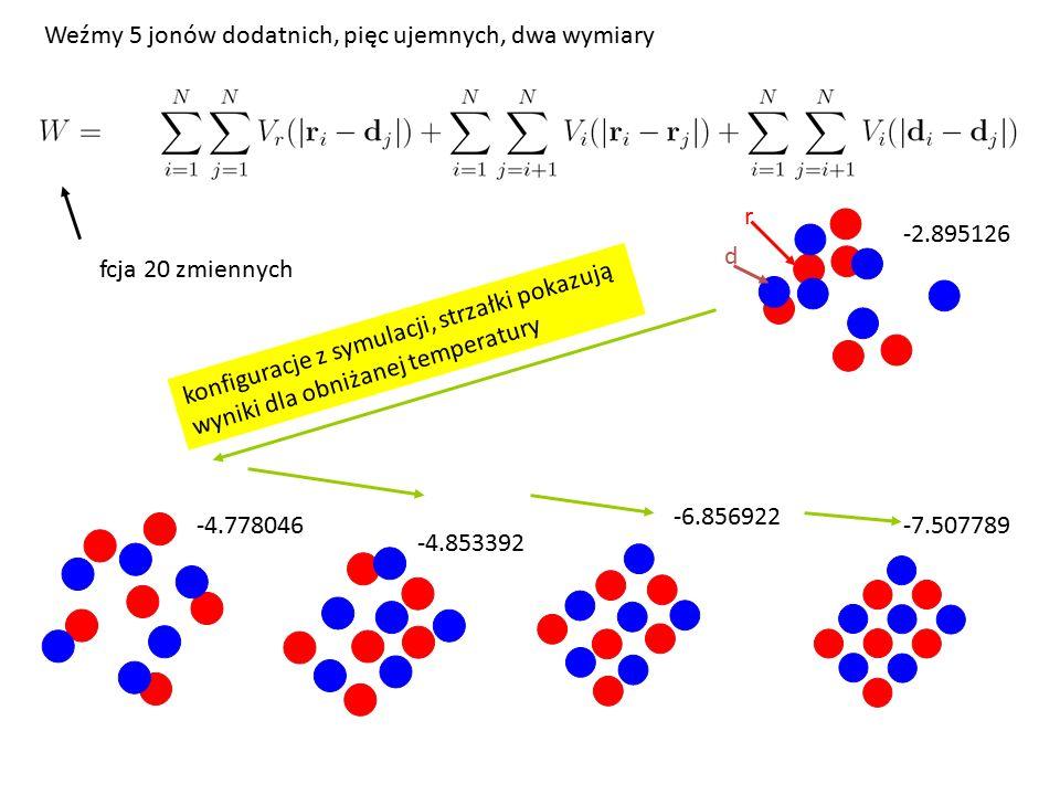 -7.507789 -6.856922 -4.853392 -2.895126 -4.778046 r d fcja 20 zmiennych Weźmy 5 jonów dodatnich, pięc ujemnych, dwa wymiary konfiguracje z symulacji, strzałki pokazują wyniki dla obniżanej temperatury
