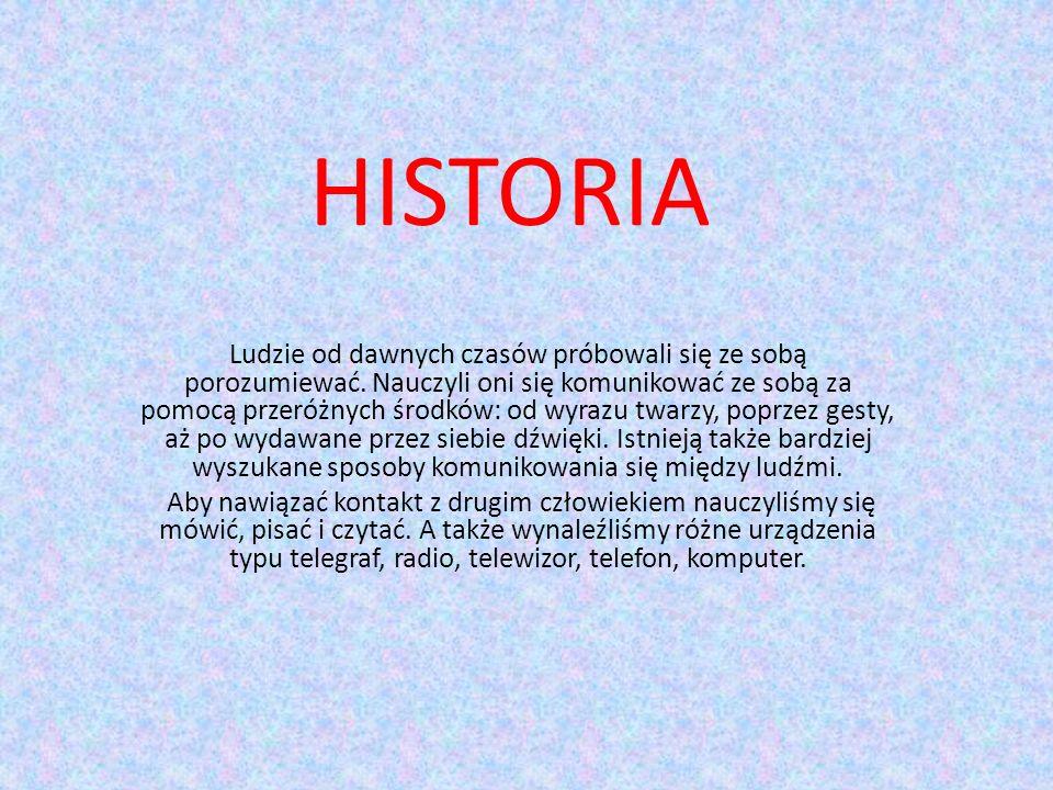 HISTORIA Ludzie od dawnych czasów próbowali się ze sobą porozumiewać.