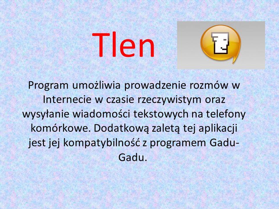 Tlen Program umożliwia prowadzenie rozmów w Internecie w czasie rzeczywistym oraz wysyłanie wiadomości tekstowych na telefony komórkowe.