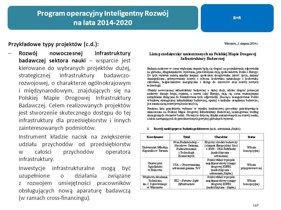 24 Przykładowe typy projektów (c.d.): –Rozwój nowoczesnej infrastruktury badawczej sektora nauki – wsparcie jest kierowane do wybranych projektów dużej, strategicznej infrastruktury badawczo- rozwojowej, o charakterze ogólnokrajowym i międzynarodowym, znajdujących się na Polskiej Mapie Drogowej Infrastruktury Badawczej.