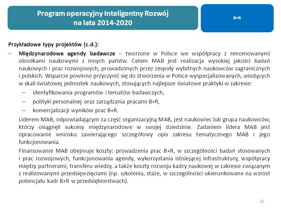 25 Przykładowe typy projektów (c.d.): –Międzynarodowe agendy badawcze – tworzone w Polsce we współpracy z renomowanymi ośrodkami naukowymi z innych państw.