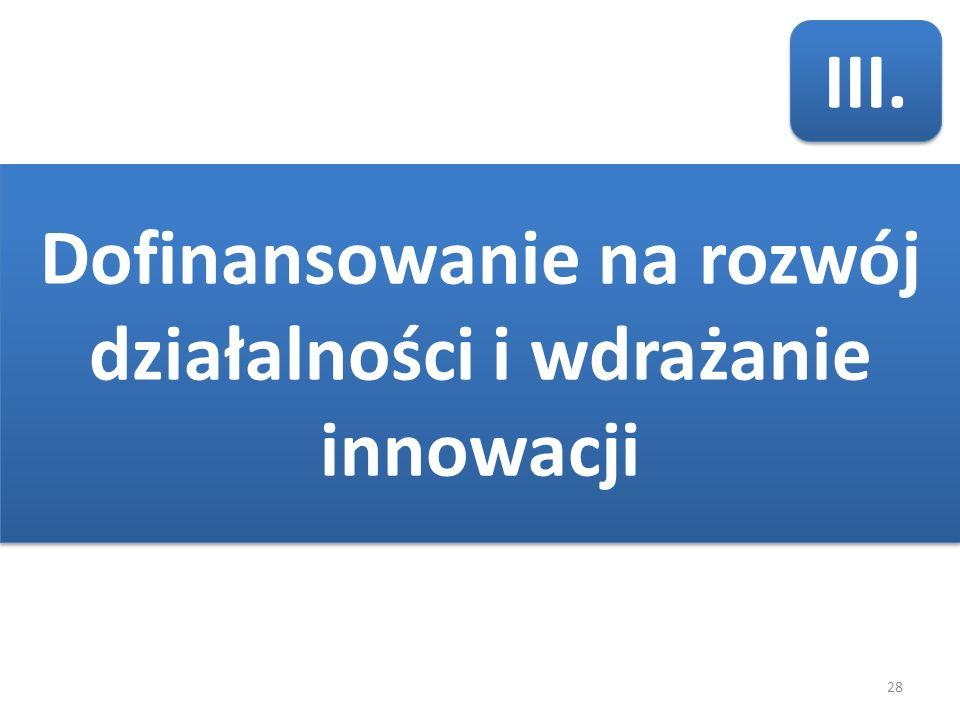28 III. Dofinansowanie na rozwój działalności i wdrażanie innowacji