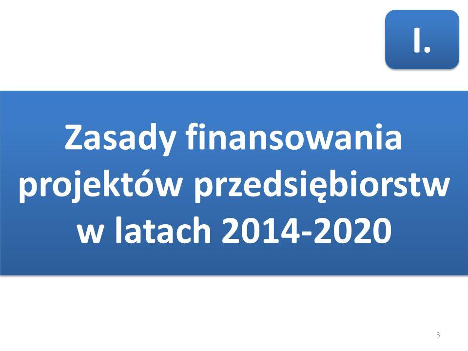 3 Zasady finansowania projektów przedsiębiorstw w latach 2014-2020 I.