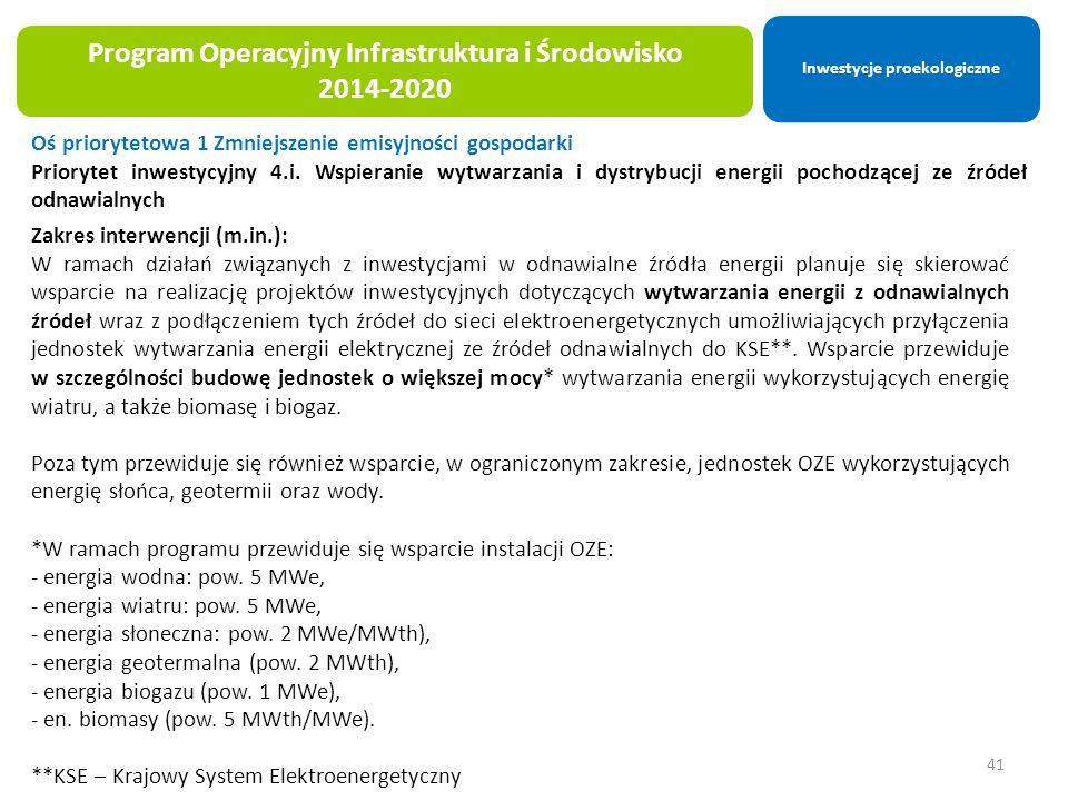 41 Program Operacyjny Infrastruktura i Środowisko 2014-2020 Oś priorytetowa 1 Zmniejszenie emisyjności gospodarki Priorytet inwestycyjny 4.i.
