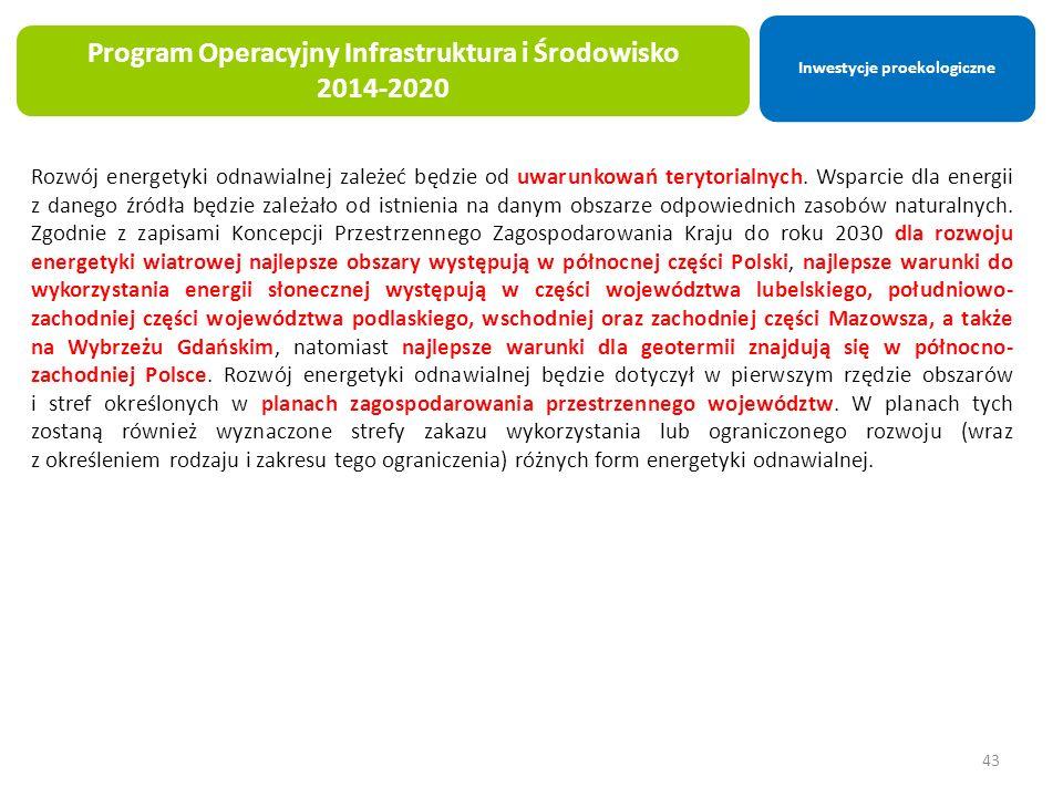 43 Program Operacyjny Infrastruktura i Środowisko 2014-2020 Rozwój energetyki odnawialnej zależeć będzie od uwarunkowań terytorialnych.
