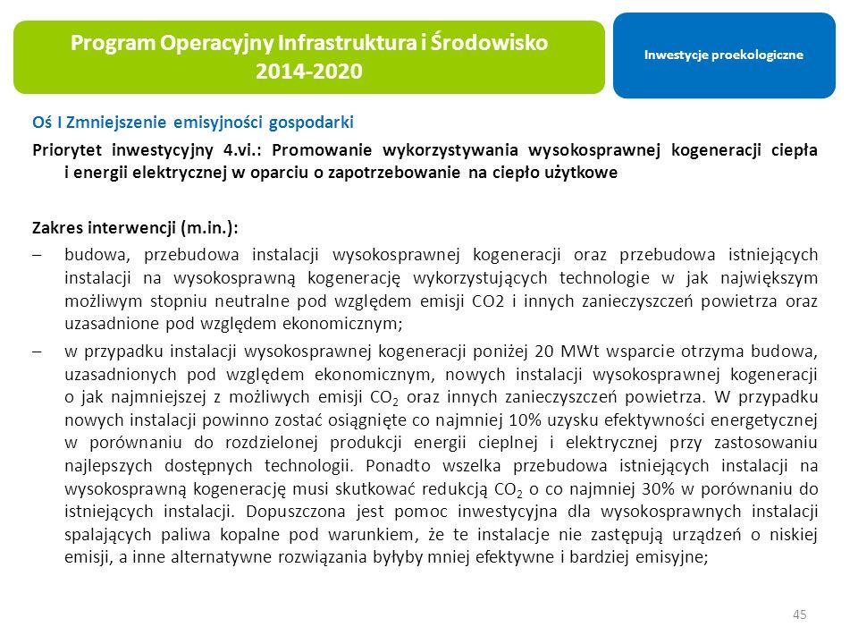 Oś I Zmniejszenie emisyjności gospodarki Priorytet inwestycyjny 4.vi.: Promowanie wykorzystywania wysokosprawnej kogeneracji ciepła i energii elektrycznej w oparciu o zapotrzebowanie na ciepło użytkowe Zakres interwencji (m.in.): –budowa, przebudowa instalacji wysokosprawnej kogeneracji oraz przebudowa istniejących instalacji na wysokosprawną kogenerację wykorzystujących technologie w jak największym możliwym stopniu neutralne pod względem emisji CO2 i innych zanieczyszczeń powietrza oraz uzasadnione pod względem ekonomicznym; –w przypadku instalacji wysokosprawnej kogeneracji poniżej 20 MWt wsparcie otrzyma budowa, uzasadnionych pod względem ekonomicznym, nowych instalacji wysokosprawnej kogeneracji o jak najmniejszej z możliwych emisji CO 2 oraz innych zanieczyszczeń powietrza.