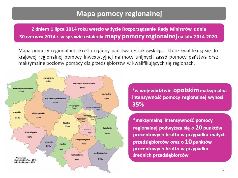 6 Mapa pomocy regionalnej Mapa pomocy regionalnej określa regiony państwa członkowskiego, które kwalifikują się do krajowej regionalnej pomocy inwestycyjnej na mocy unijnych zasad pomocy państwa oraz maksymalne poziomy pomocy dla przedsiębiorstw w kwalifikujących się regionach.