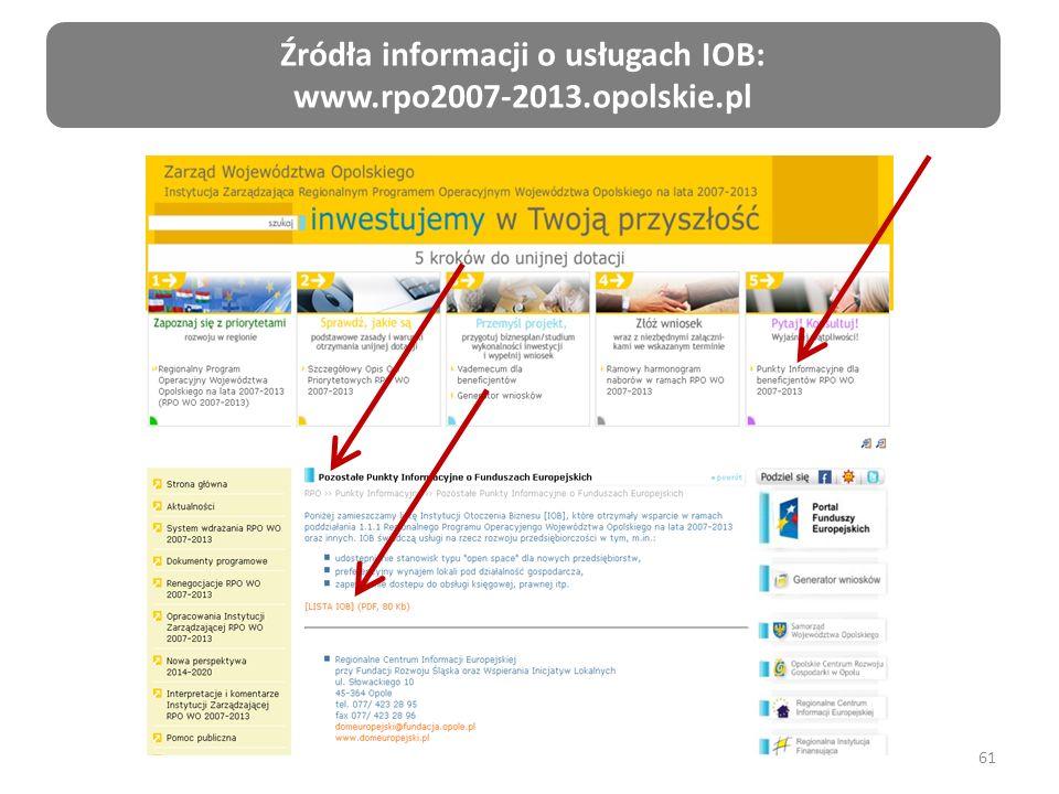 61 Źródła informacji o usługach IOB: www.rpo2007-2013.opolskie.pl