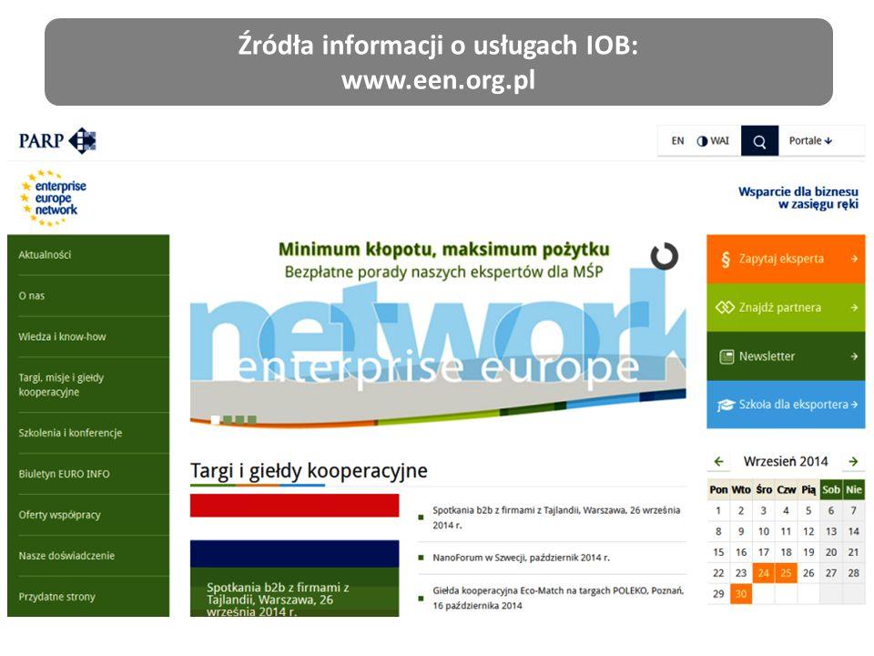 Źródła informacji o usługach IOB: www.een.org.pl