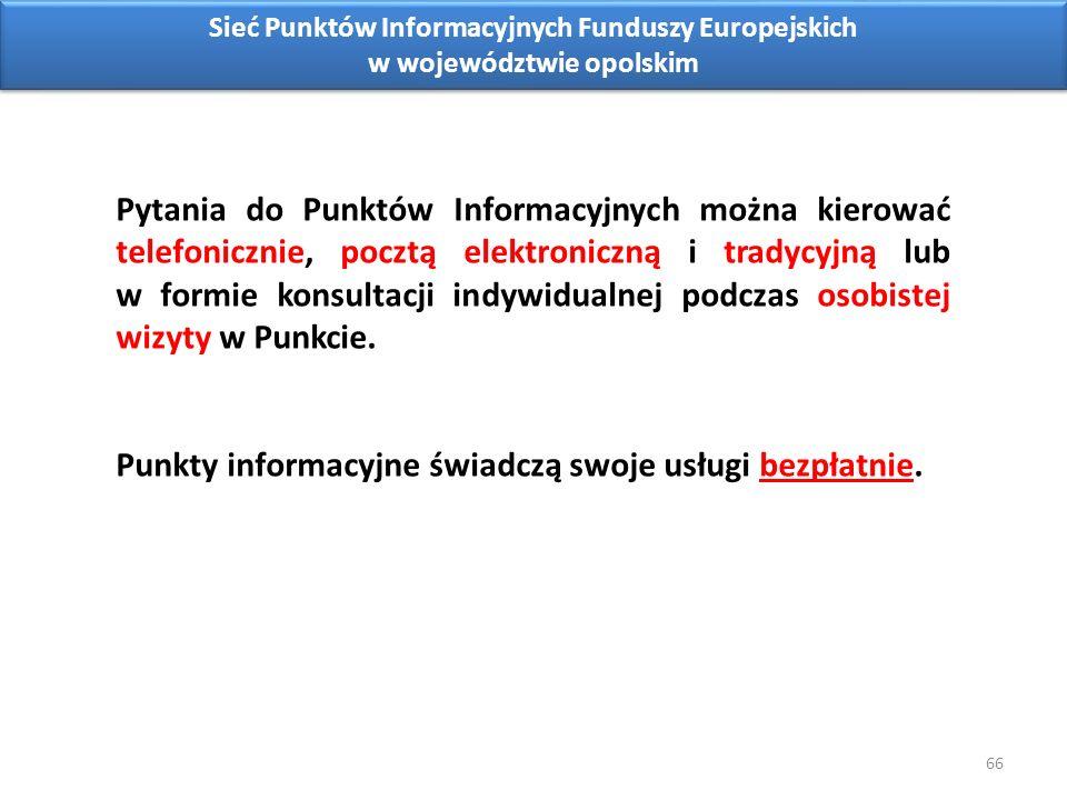 66 Sieć Punktów Informacyjnych Funduszy Europejskich w województwie opolskim Pytania do Punktów Informacyjnych można kierować telefonicznie, pocztą elektroniczną i tradycyjną lub w formie konsultacji indywidualnej podczas osobistej wizyty w Punkcie.