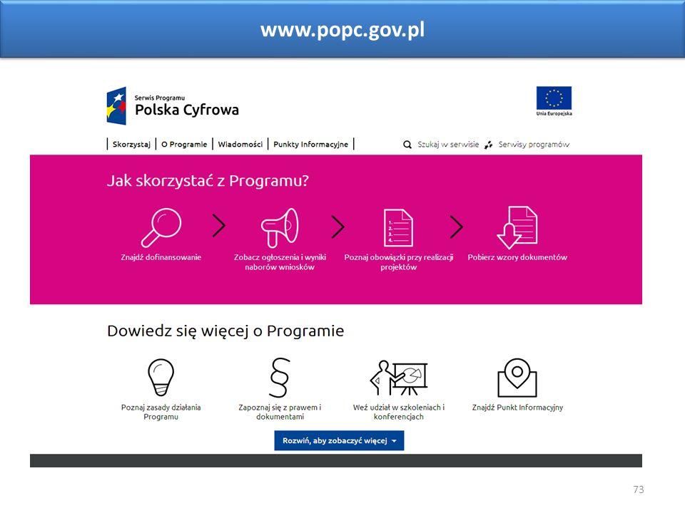 73 www.popc.gov.pl Sieć Punktów Informacyjnych Funduszy Europejskich w województwie opolskim