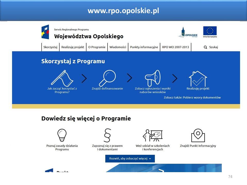 74 www.rpo.opolskie.pl Sieć Punktów Informacyjnych Funduszy Europejskich w województwie opolskim