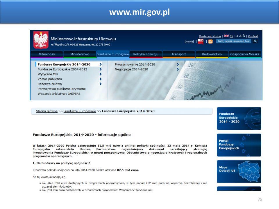 75 www.mir.gov.pl Sieć Punktów Informacyjnych Funduszy Europejskich w województwie opolskim