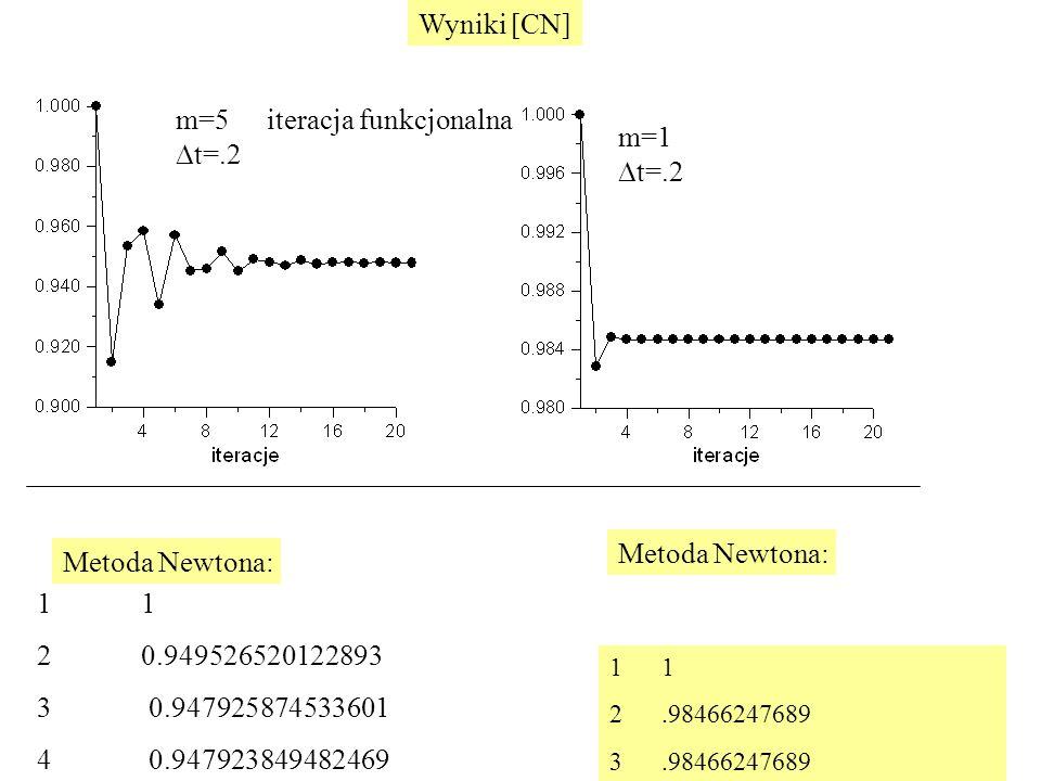 m=5  t=.2 m=1  t=.2 1 2.98466247689 3.98466247689 1 20.949526520122893 3 0.947925874533601 4 0.947923849482469 Metoda Newtona: Wyniki [CN] iteracja funkcjonalna