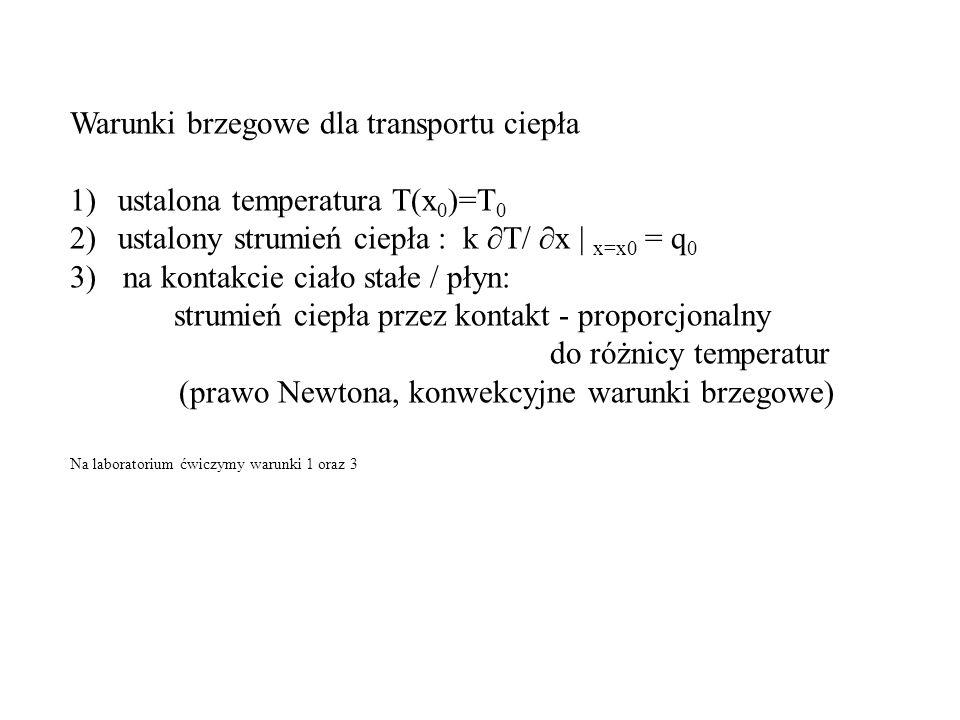 Warunki brzegowe dla transportu ciepła 1)ustalona temperatura T(x 0 )=T 0 2)ustalony strumień ciepła : k ∂T/ ∂x | x=x0 = q 0 3) na kontakcie ciało stałe / płyn: strumień ciepła przez kontakt - proporcjonalny do różnicy temperatur (prawo Newtona, konwekcyjne warunki brzegowe) Na laboratorium ćwiczymy warunki 1 oraz 3