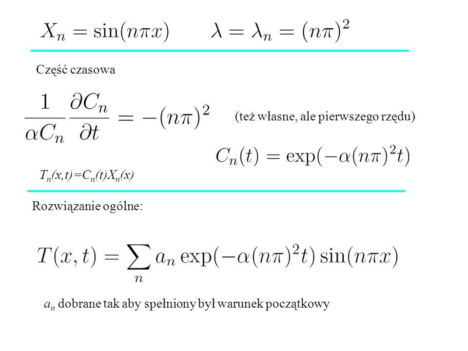 Część czasowa Rozwiązanie ogólne: a n dobrane tak aby spełniony był warunek początkowy (też własne, ale pierwszego rzędu) T n (x,t)=C n (t)X n (x)