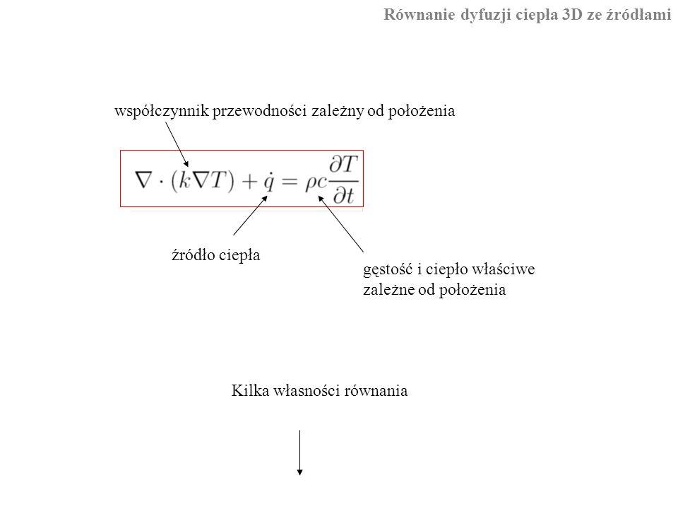 Równanie dyfuzji ciepła 3D ze źródłami źródło ciepła współczynnik przewodności zależny od położenia gęstość i ciepło właściwe zależne od położenia Kilka własności równania