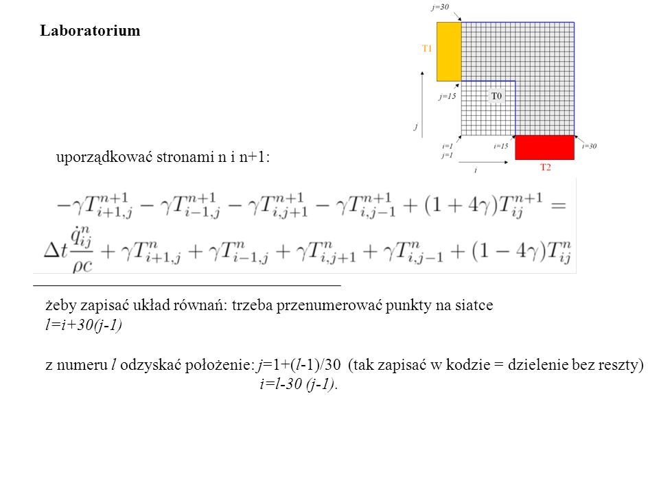 żeby zapisać układ równań: trzeba przenumerować punkty na siatce l=i+30(j-1) z numeru l odzyskać położenie: j=1+(l-1)/30 (tak zapisać w kodzie = dzielenie bez reszty) i=l-30 (j-1).