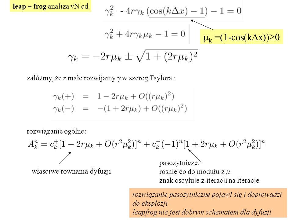 leap – frog analiza vN cd załóżmy, że r małe rozwijamy  w szereg Taylora : rozwiązanie ogólne: właściwe równania dyfuzji pasożytnicze: rośnie co do modułu z n znak oscyluje z iteracji na iteracje rozwiązanie pasożytniczne pojawi się i doprowadzi do eksplozji leapfrog nie jest dobrym schematem dla dyfuzji  k =(1-cos(k  x))  0 -