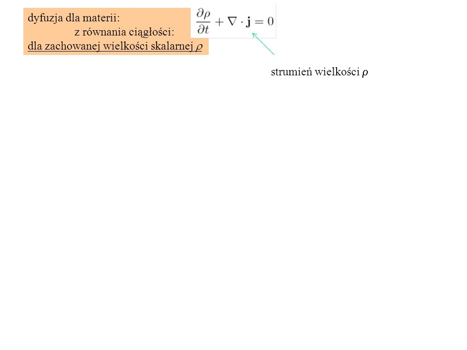 Równanie przewodnictwa cieplnego (dyfuzji ciepła) 1D, k=const Układ nie wykonuje pracy, wtedy równanie opisuje transport czysto dyfuzyjny bez adwekcji