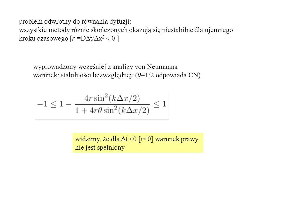 problem odwrotny do równania dyfuzji: wszystkie metody różnic skończonych okazują się niestabilne dla ujemnego kroku czasowego [r =D  t/  x 2 < 0 ] wyprowadzony wcześniej z analizy von Neumanna warunek: stabilności bezwzględnej: (  =1/2 odpowiada CN) widzimy, że dla  t <0 [r<0] warunek prawy nie jest spełniony