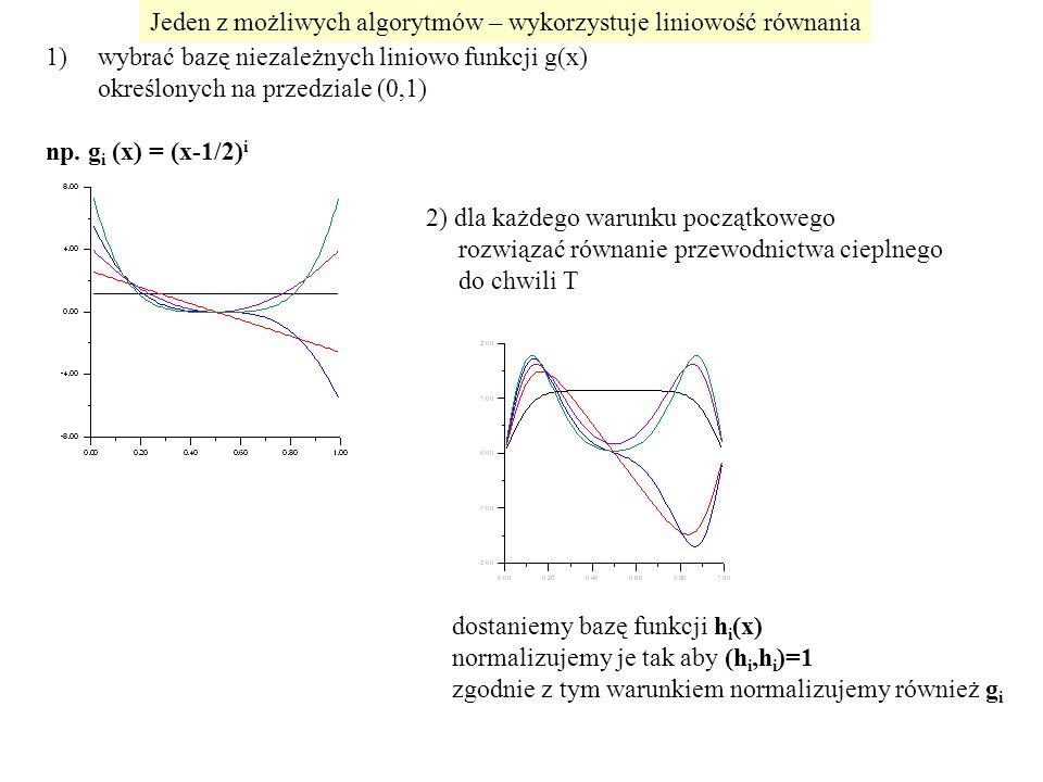 1)wybrać bazę niezależnych liniowo funkcji g(x) określonych na przedziale (0,1) np.