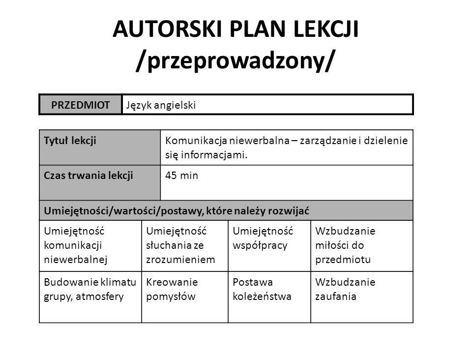 AUTORSKI PLAN LEKCJI /przeprowadzony/ PRZEDMIOTJęzyk angielski Tytuł lekcjiKomunikacja niewerbalna – zarządzanie i dzielenie się informacjami.