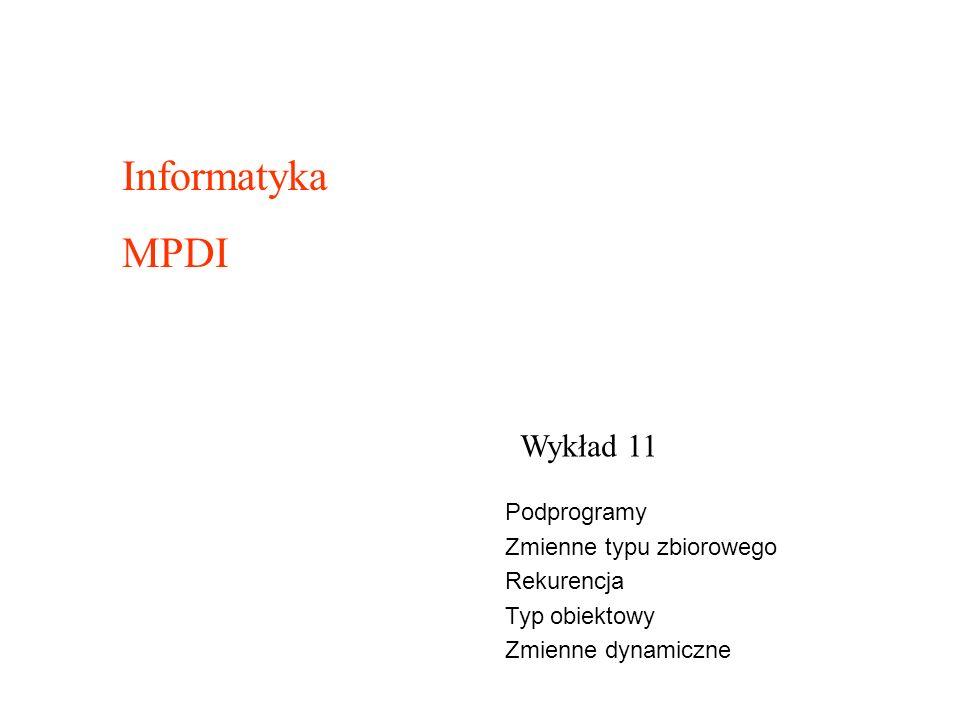 Wykład 11 Informatyka MPDI Podprogramy Zmienne typu zbiorowego Rekurencja Typ obiektowy Zmienne dynamiczne