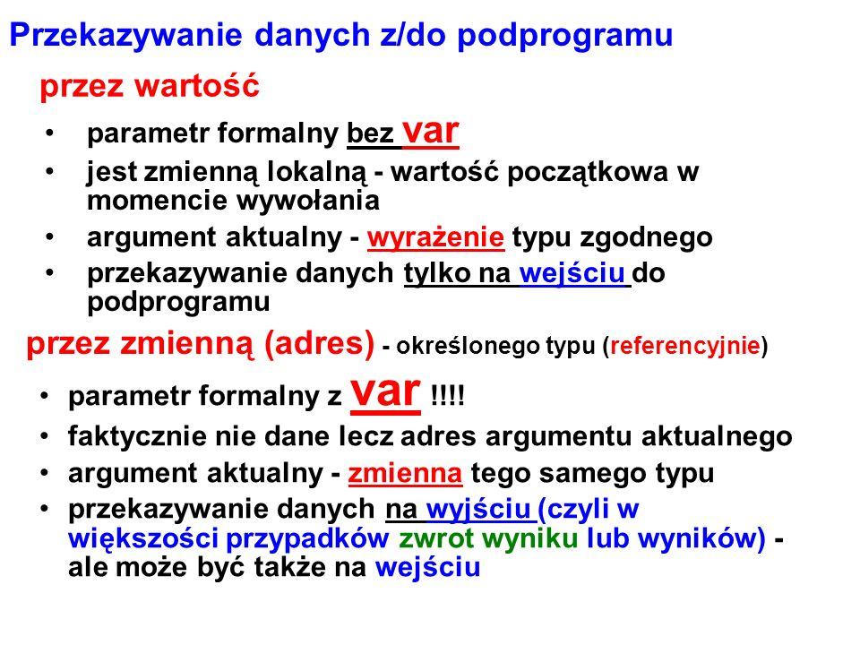 Przekazywanie danych z/do podprogramu parametr formalny bez var jest zmienną lokalną - wartość początkowa w momencie wywołania argument aktualny - wyrażenie typu zgodnego przekazywanie danych tylko na wejściu do podprogramu przez zmienną (adres) - określonego typu (referencyjnie) parametr formalny z var !!!.